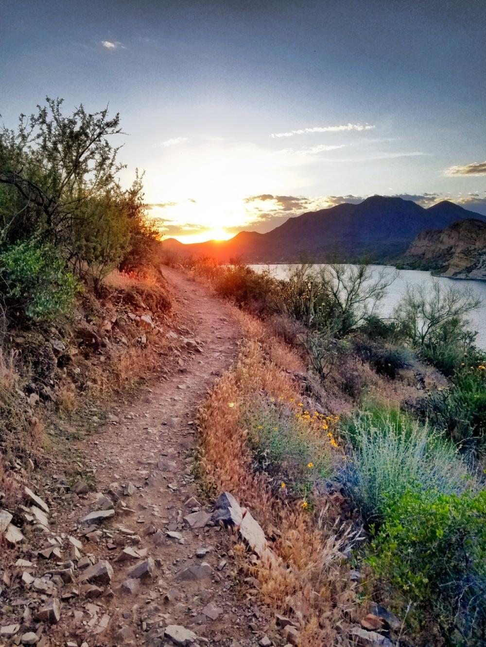 Hiking Butcher Jones Trail - Sunset view from Butcher Jones Trail,  Saguaro Lake, Arizona