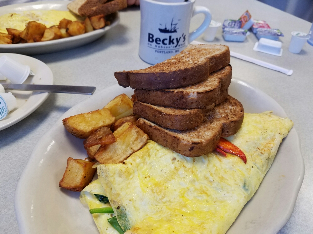 Lobster omelet at Becky's Diner