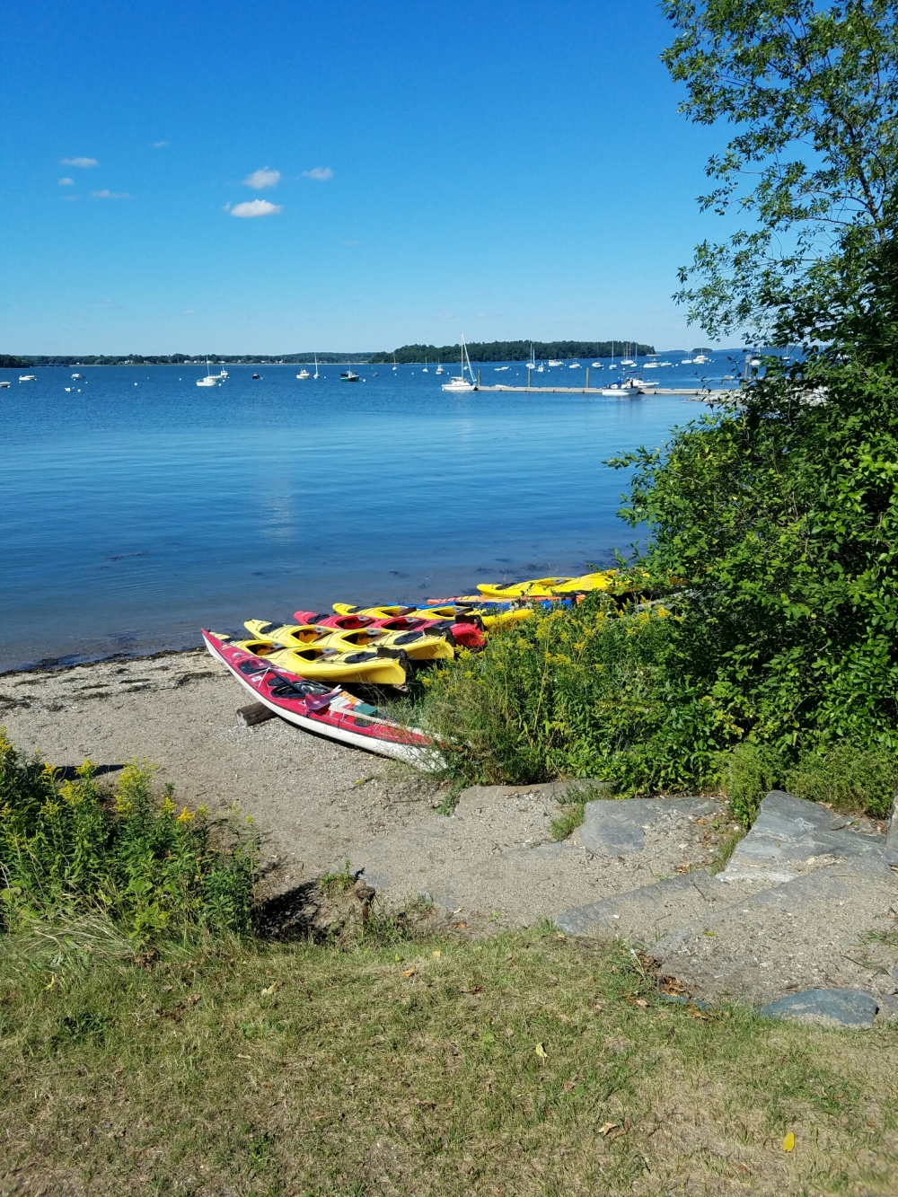 Kayaks on Casco Bay