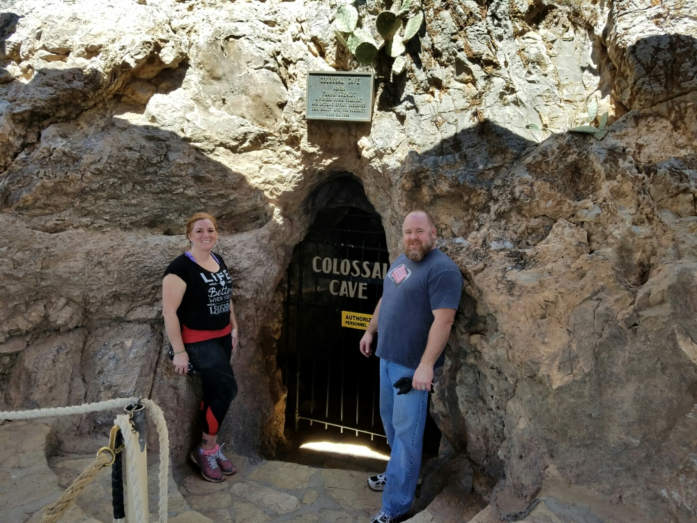 Waiting at the entrance to Collosal Cave for our ladder tour