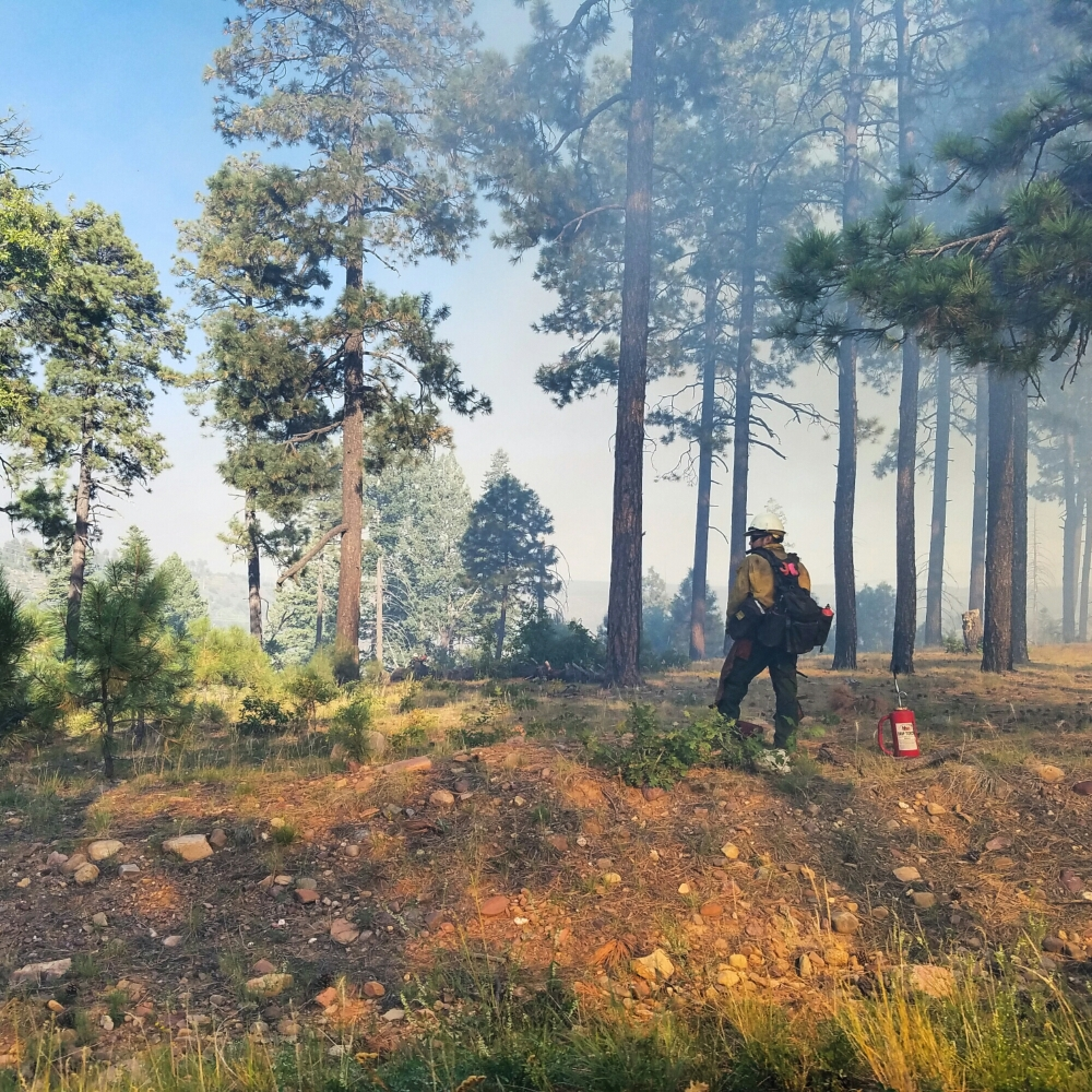 Heavy smome hangs over the Mogollon Rim as fire fighters battle forest fire
