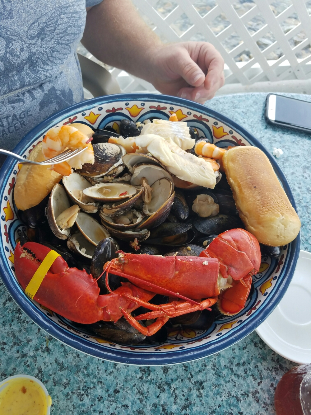 Seafood Bouillabaisse at Rising Tide Restaurant, a rich stew of fish, shrimp, clams, mussels and lobster